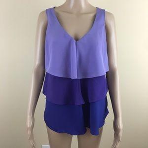 New York & Company Large Purple Tiered Sleeveless